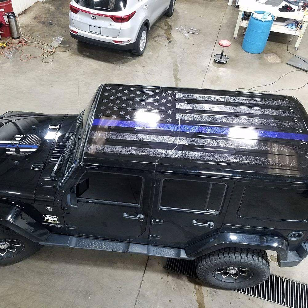 Thin Blue Line Tattered Flag With Ghosted Punisher Logo Wrap We - Custom windo decals for jeepsjeep wrangler side decals and stickers jeep gear partsmods