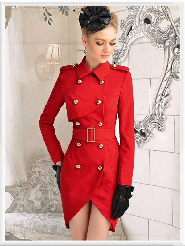 Vintage Women Golden Button Parka Double Breasted Tulip Red Trench ...