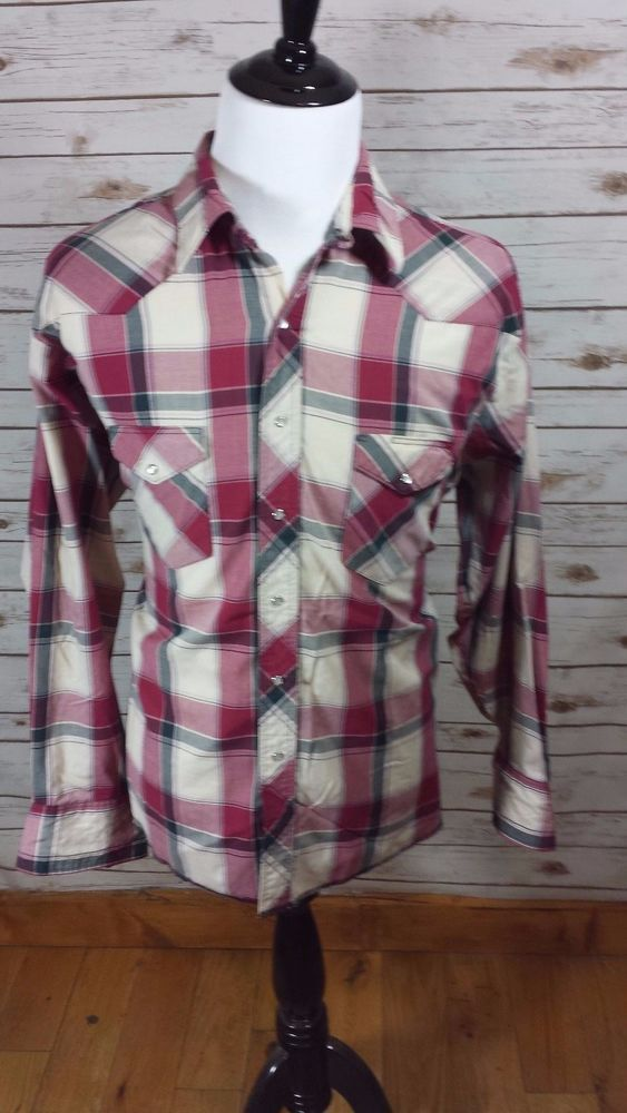 WRANGLER Red Plaid Long Sleeve Western Shirt Size XXL 18-18.5  Pearl Snap   #Wrangler #Western