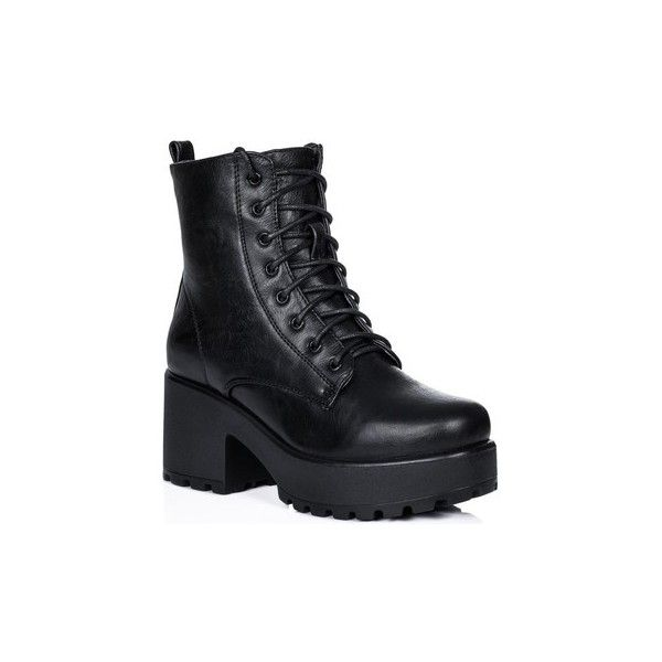 a78cbe1598d5 Spylovebuy SHOTGUN Block Heel Cleated Sole Lace Up Platform Ankle...  (547.265 IDR) ❤ liked on Polyvore