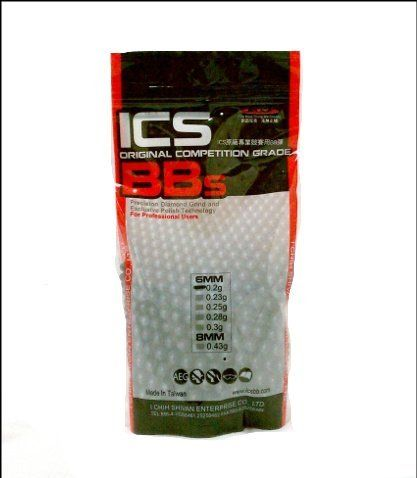 ICS Invisible Competition Grade 3500 .20g BBs Airsoft Gun Accessory by ICS. $15.99. These ISC Invisible Competition Grade BBs are high quality and very affordable, which means you won't have to worry about cost when you go play Airsoft. The weight is .20g and there is 3500BBs in this package. The perfect addition to any Airsoft gun the ICS Competition Grade 3500 .20g BBs are ready to go, so hurry and get yours now!  Features:  Invisible Competition Grade 6mm 3500 Rou...