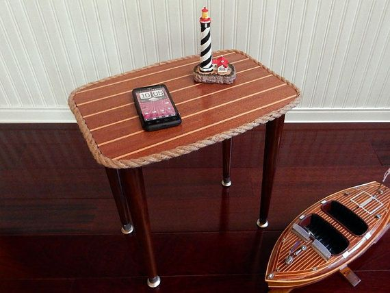 Genial Cabin Sole Nautical End Table Mahogany By HarborsideCollection