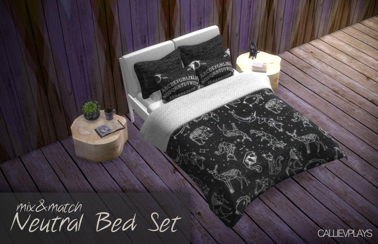 A neutral bed set that includes a white wooden bed frame