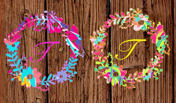 Lilly Pulitzer Inspired Flower Wreath Border Decal, Floral