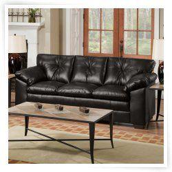 Simmons Sebring Black Leather Sofa