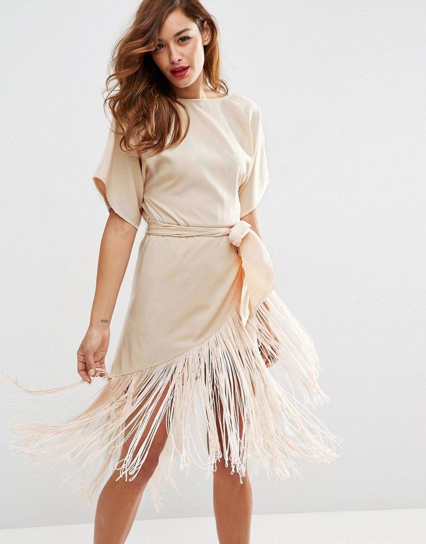 Bild 1 von ASOS – Mittellanges T-Shirt-Kleid mit Fransen | Hippie ...