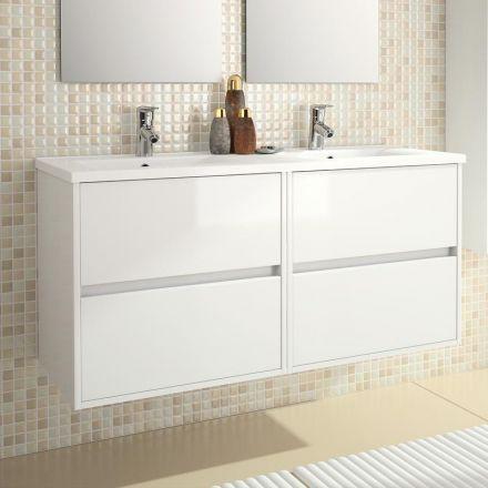Meuble salle de bain 120 cm, 4 tiroirs, plan vasque porcelaine
