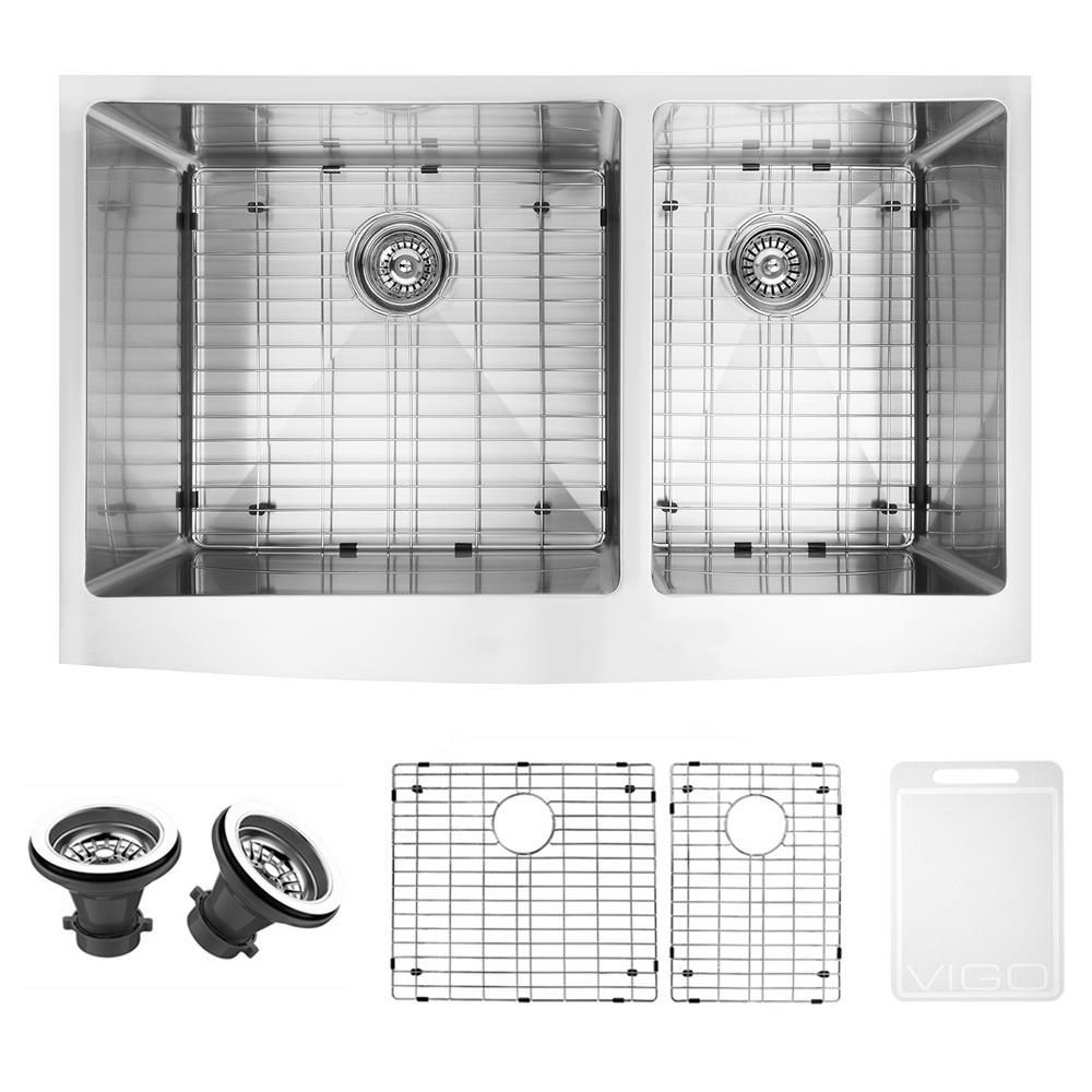 Stainless Steel Farmhouse Kitchen Sink Two Grids And Two Strainer