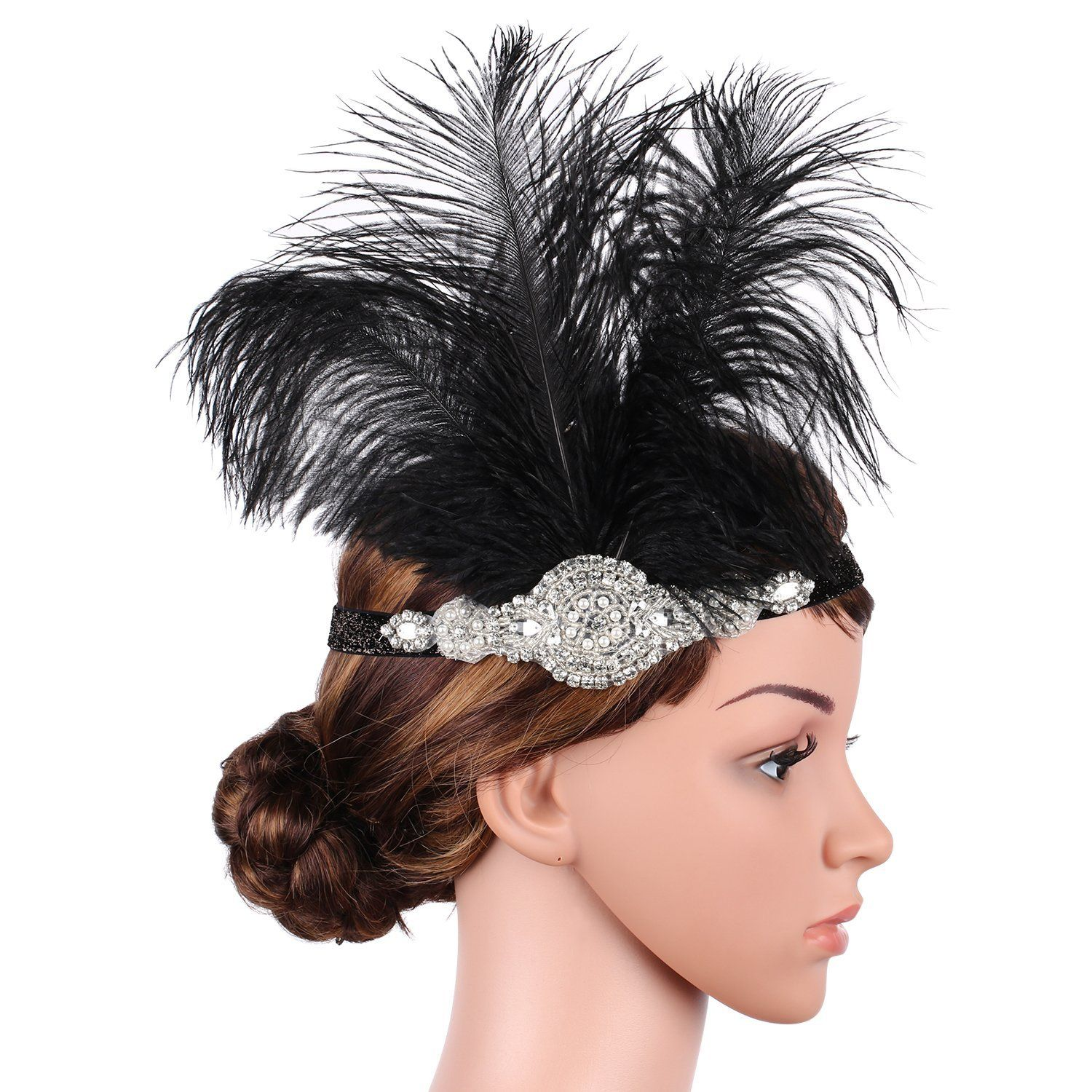 babeyond women's roaring prom ostrich feather headband gatsby