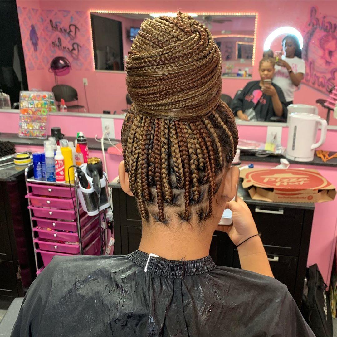 Knotless Bun Braidbarbiegang Hair Styles Braided Hairstyles Braided Bun Hairstyles
