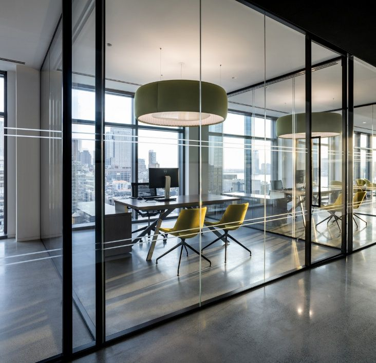 Conference room with glass so everyone can see the view for Houzz corporate office
