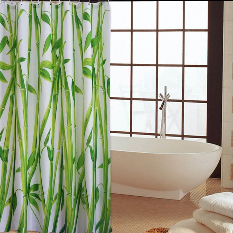 The Lovely Of Bamboo Shower Curtain In 2020 Fabric Shower