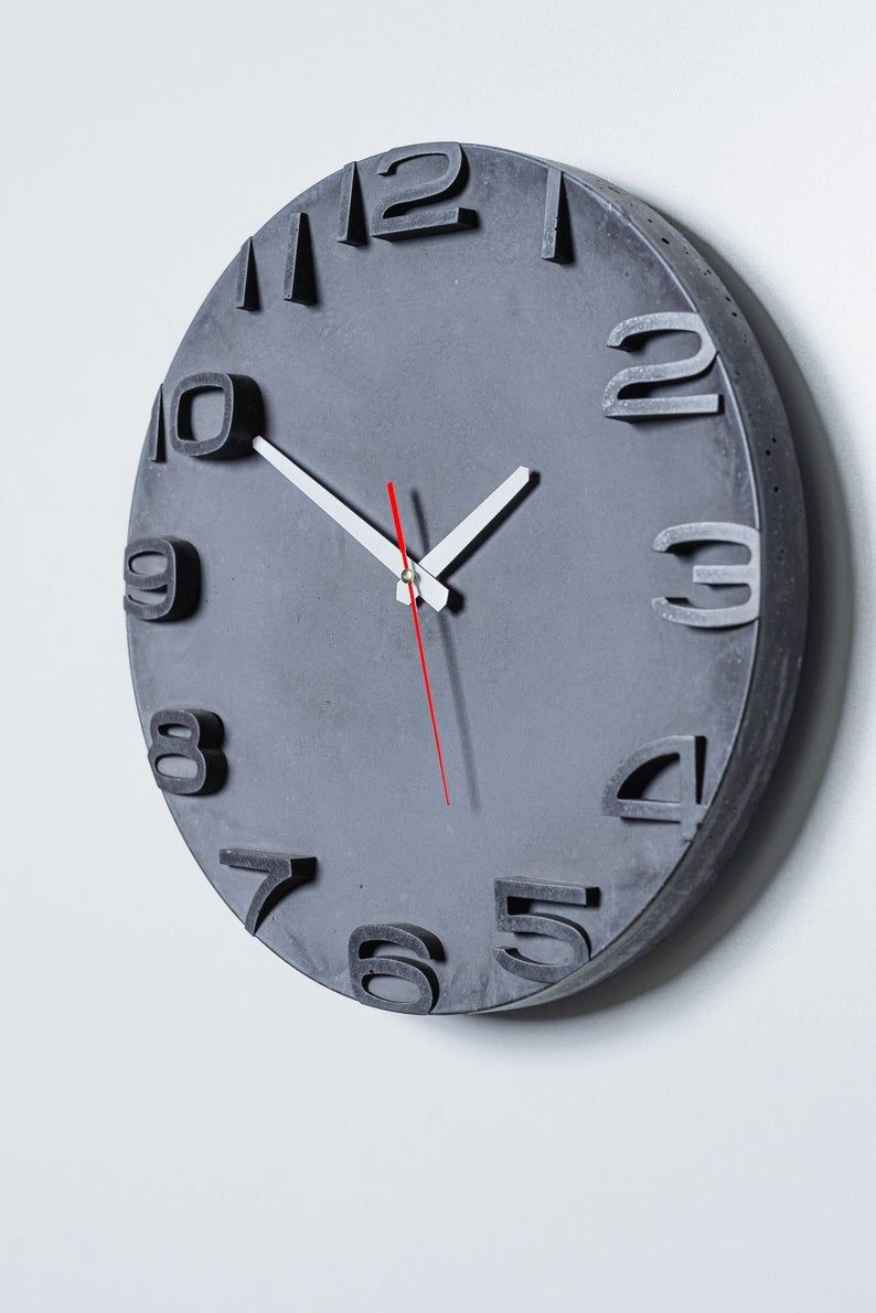 Modern Concrete Wall Clock Concrete Home Decor Industrial Etsy In 2020 Industrial Clock Wall Wall Clock Wall Clock Modern