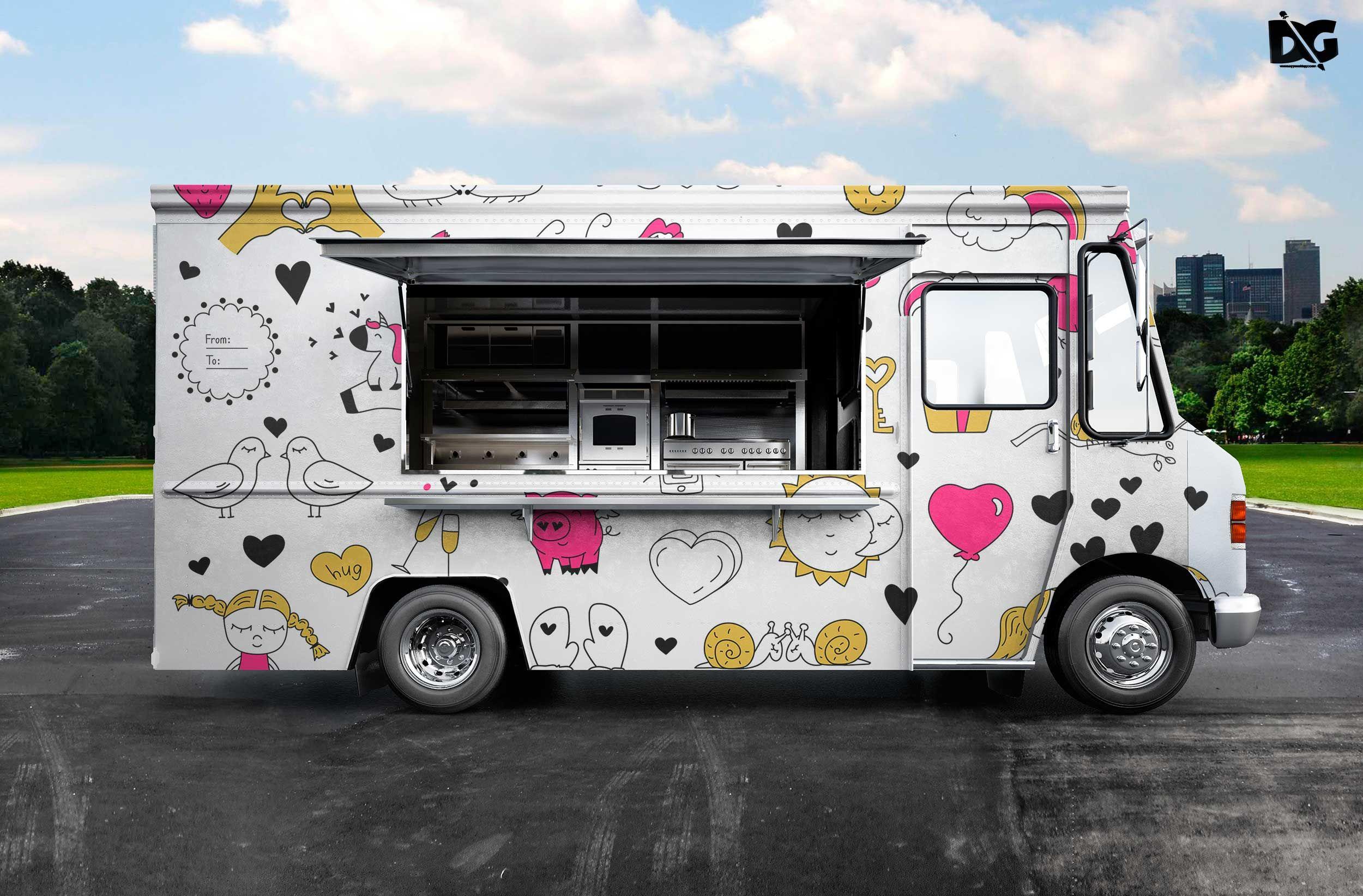 Psd Burger Food Truck Design Mockup Truck Design Food Truck Design Food Truck