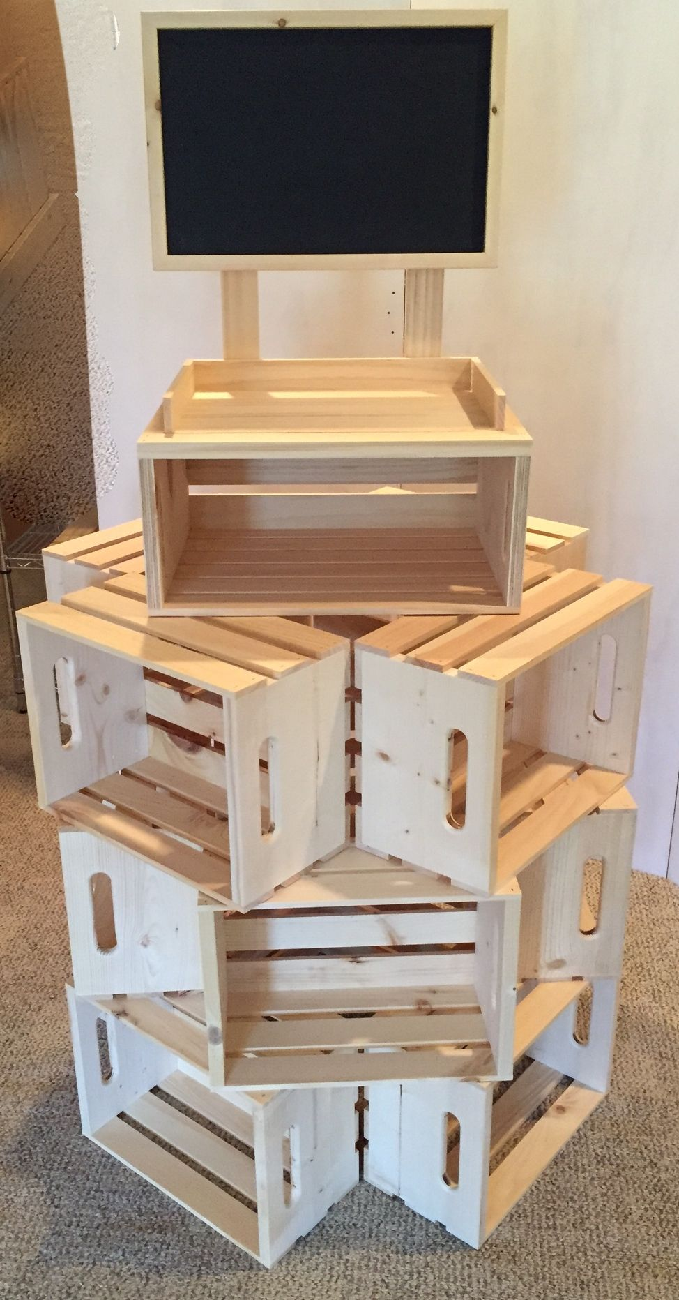 4 multi sided rustic crate store display chalkboard retail for Craft shows on tv