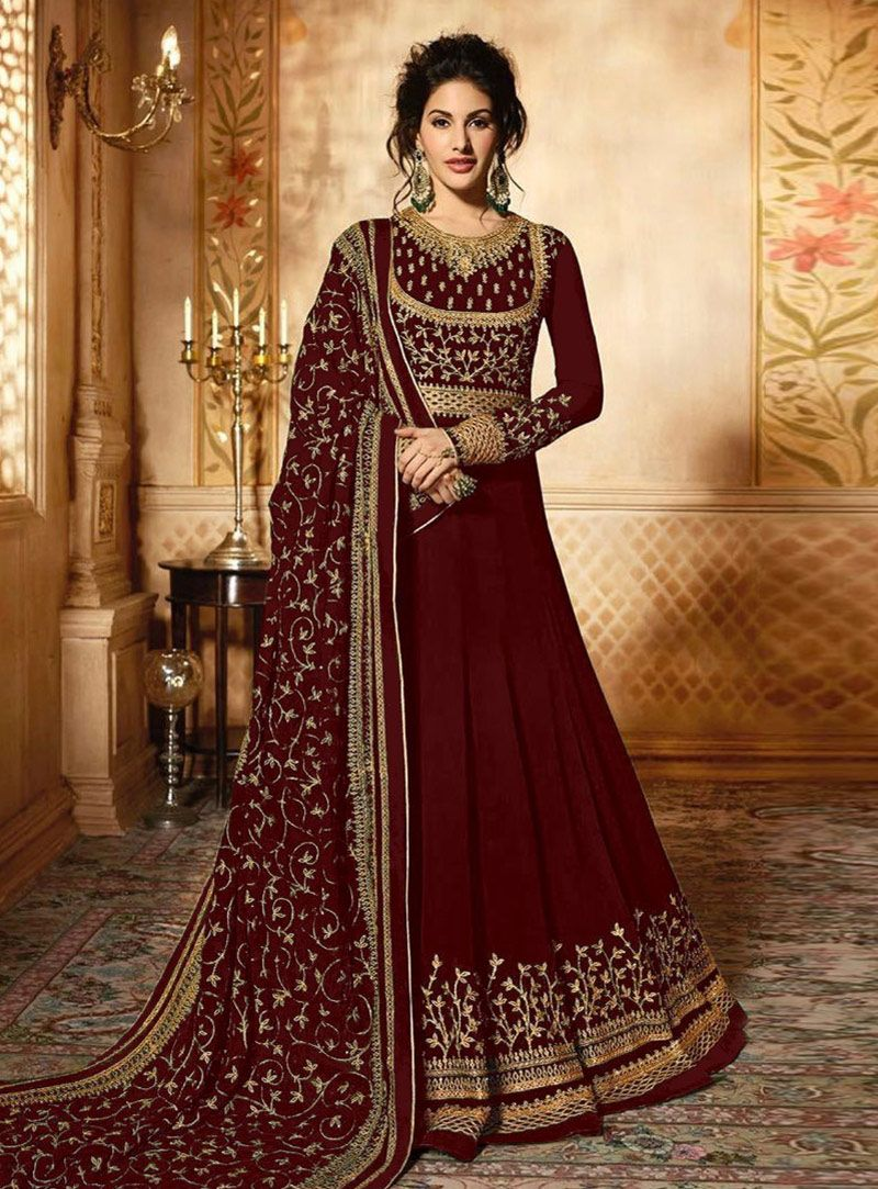 df36ea189b Buy Maroon Faux Georgette Floor Length Anarkali Suit 148002 online at  lowest price from huge collection of salwar kameez at Indianclothstore.com.