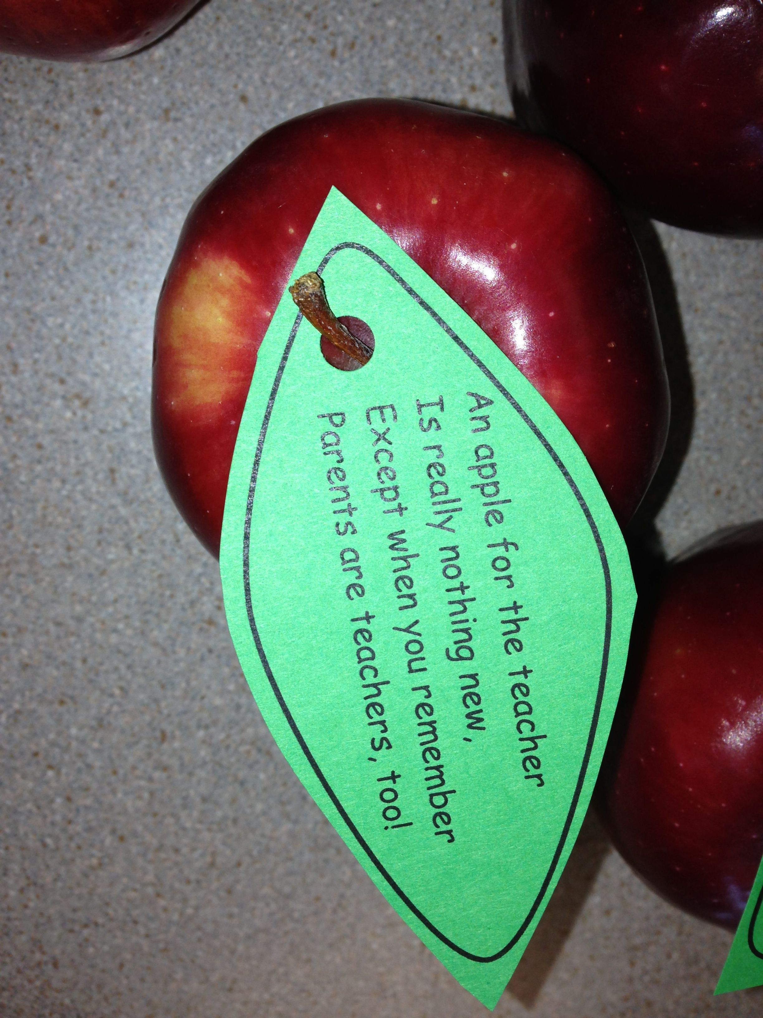 Cute Little Poem With An Apple For The Parents An Apple For The Teacher Is Really Nothing New