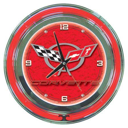Corvette Flag Wall Clock Neon Clock Clock Wall Clock