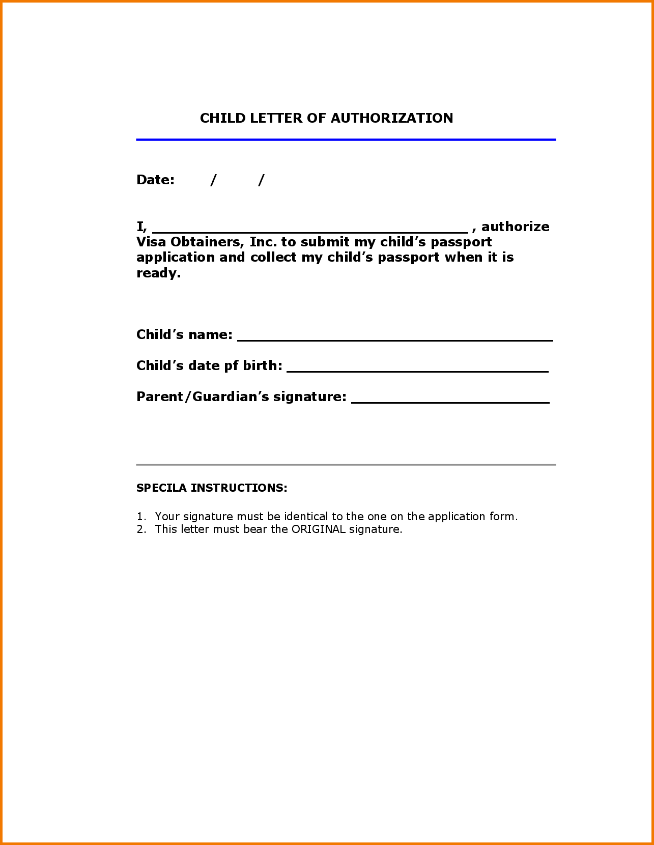 Authorization Letter For Collection Passport Procedure Template