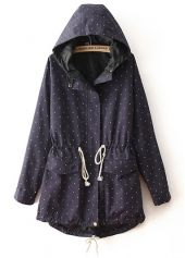navy blue polka dot trench coat | anorak | parka  | hoodie | with drawstring