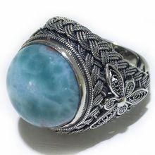 Vintage 16.3ctw 16*16 Round Larimar Handmade Silver Ring for Men & Women…