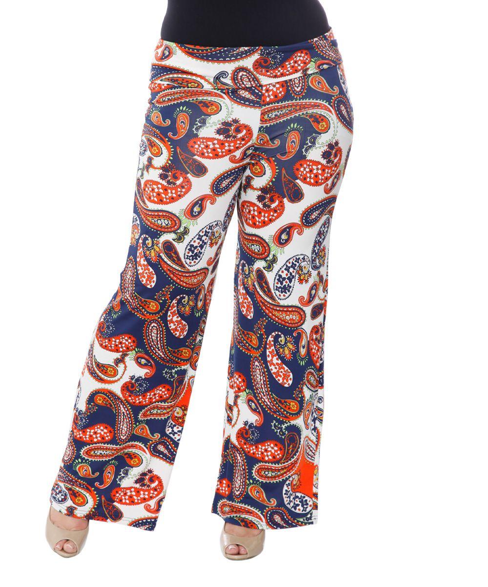 bf614e4886b Navy   Orange Paisley Palazzo Pants - Plus Palazzo Pants Plus Size