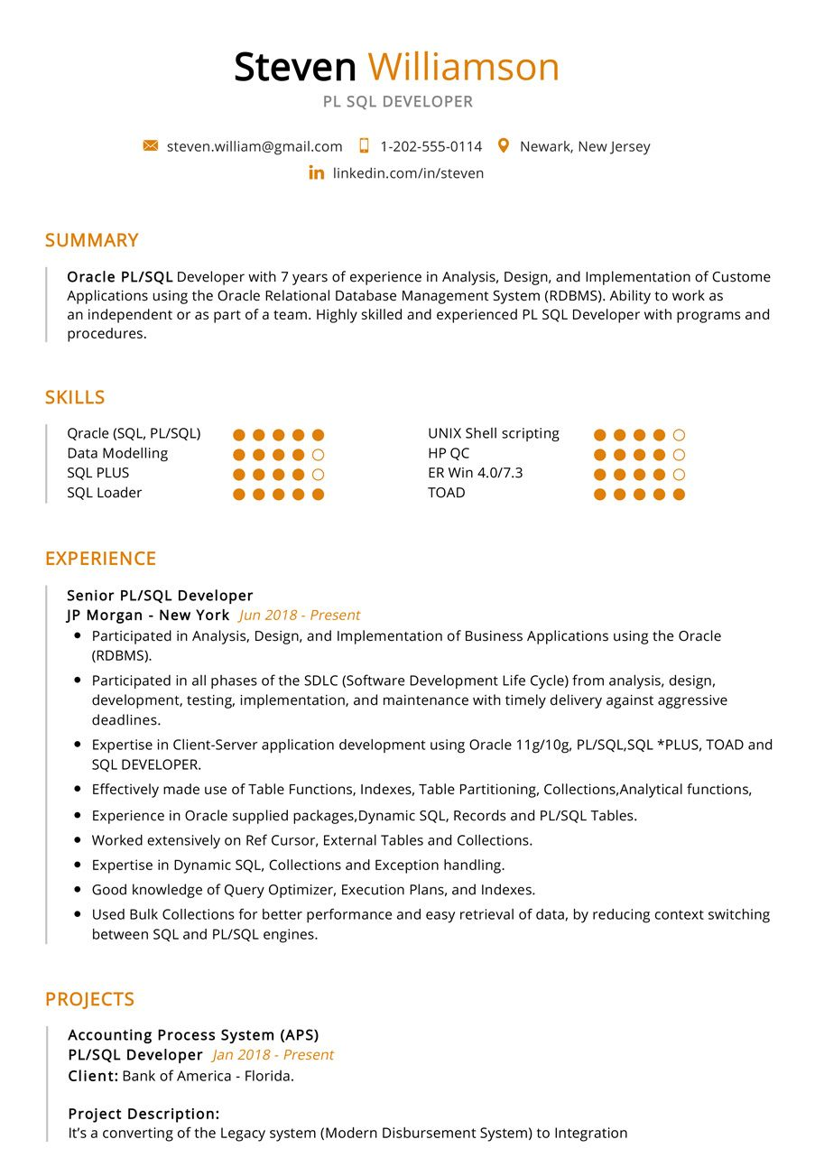 This Is The Most Recommended Professional Resume With Best Resume Format And Professional Design Sample Resu Pl Sql Sql Relational Database Management System