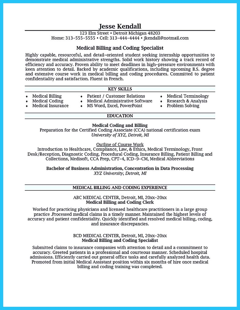 Exciting Billing Specialist Resume That Brings The Job To You Medical Coder Resume Billing And Coding Medical Billing And Coding