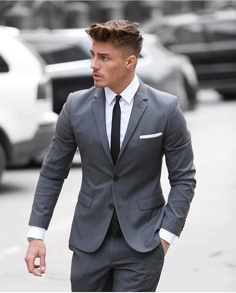 Men's Grey Suit, White Dress Shirt, Black Tie, White Pocket Square ...