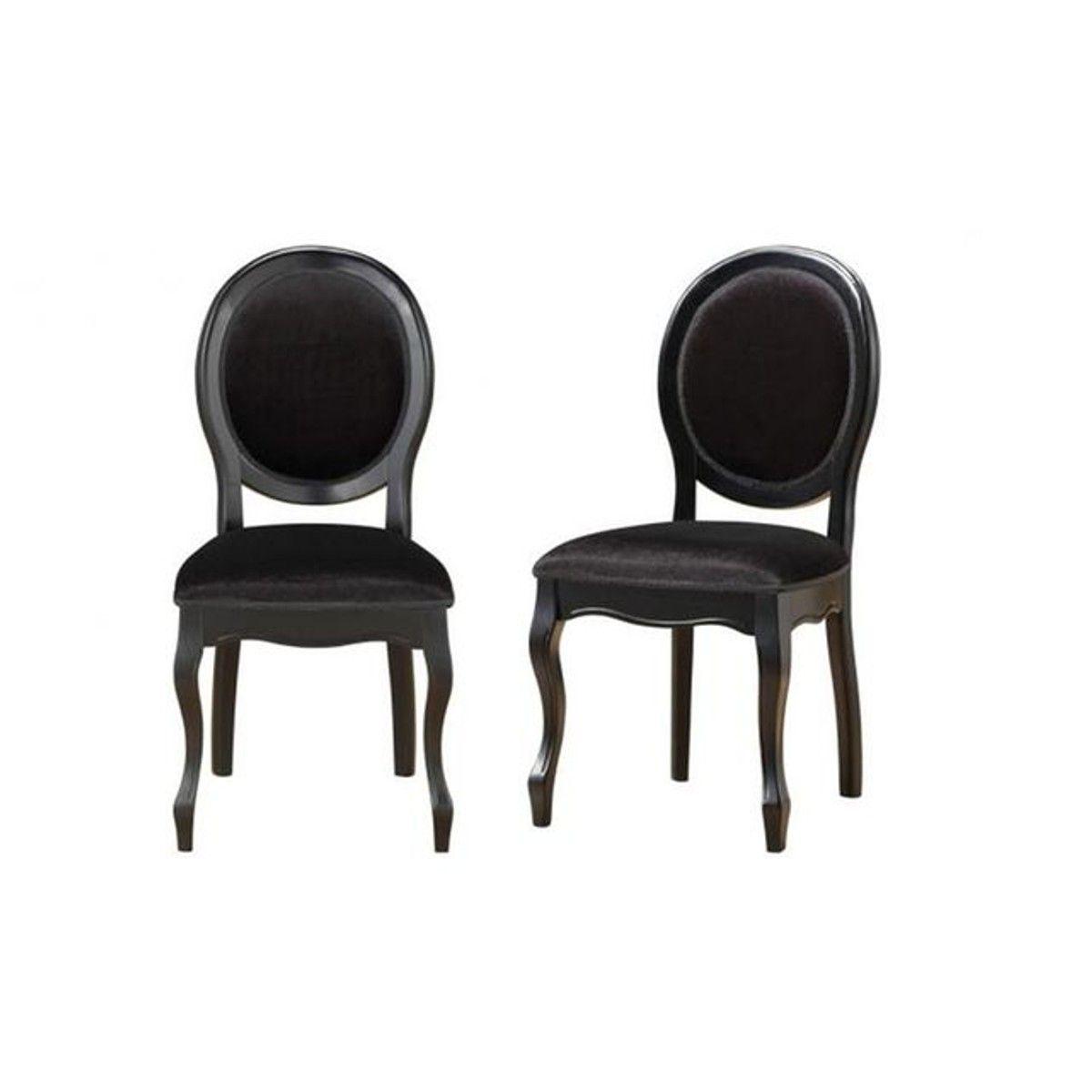 Lot De 2 Chaises Medaillon Noires Antoinette Taille Taille Unique Chaise Chaise Medaillon Et Decoration Interieure Moderne