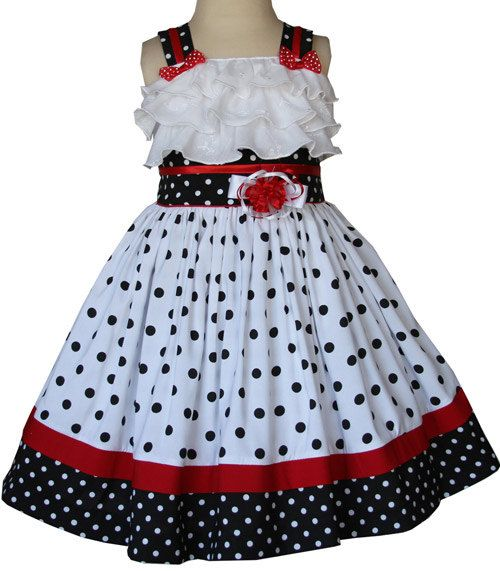 Girls Minnie Ruffled Black Polka Dot Dress  Disney Summer and ...