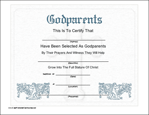 This Printable Certificate Recognizes The Selection Of Godparents