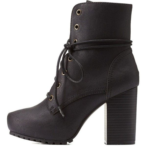 Charlotte Russe Black Qupid Lug Sole Chunky Heel Combat Booties by... ($50) ❤ liked on Polyvore featuring shoes, boots, ankle booties, black, military boots, black lace up ankle booties, black army boots, lace up booties and black military boots