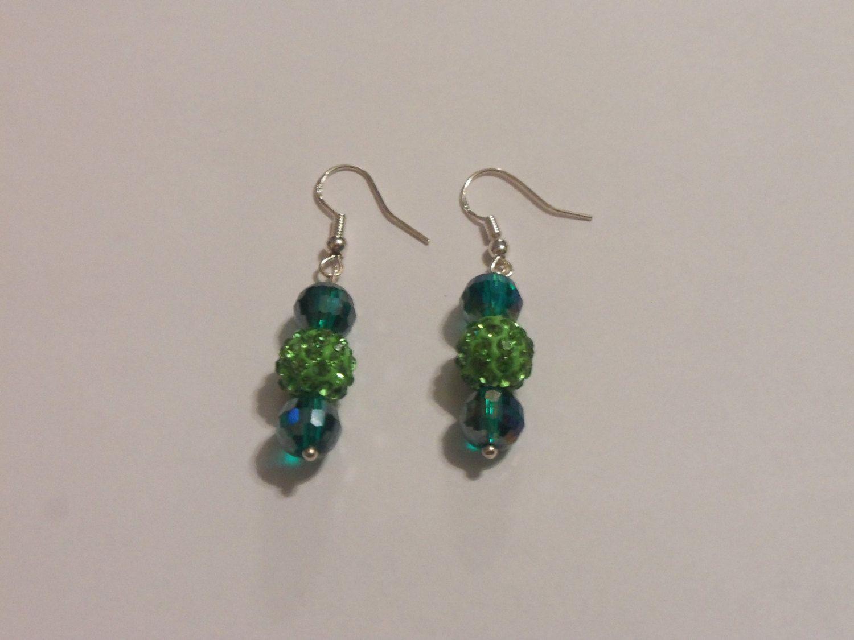 Green Pave Earrings, Emerald Earrings, Dangle Earrings, Gifts For Her, St  Patricks