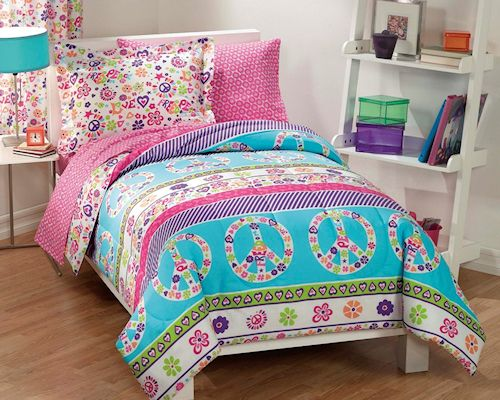Retro Pink Blue Peace Sign Love S Bedding Twin Or Full Comforter Set Bed In A Bag Ensemble