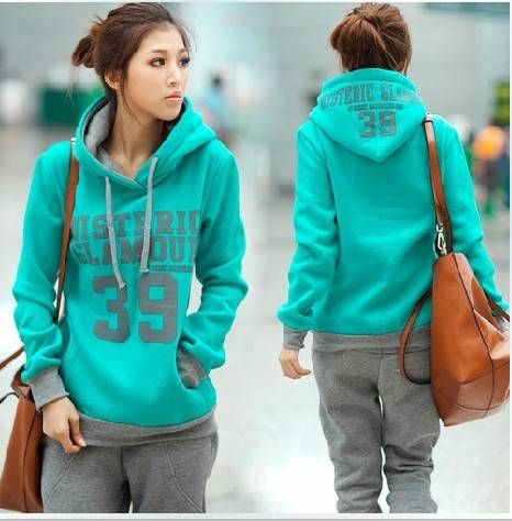 autumn and winter fashion women thickening hoodies suits fleece ...