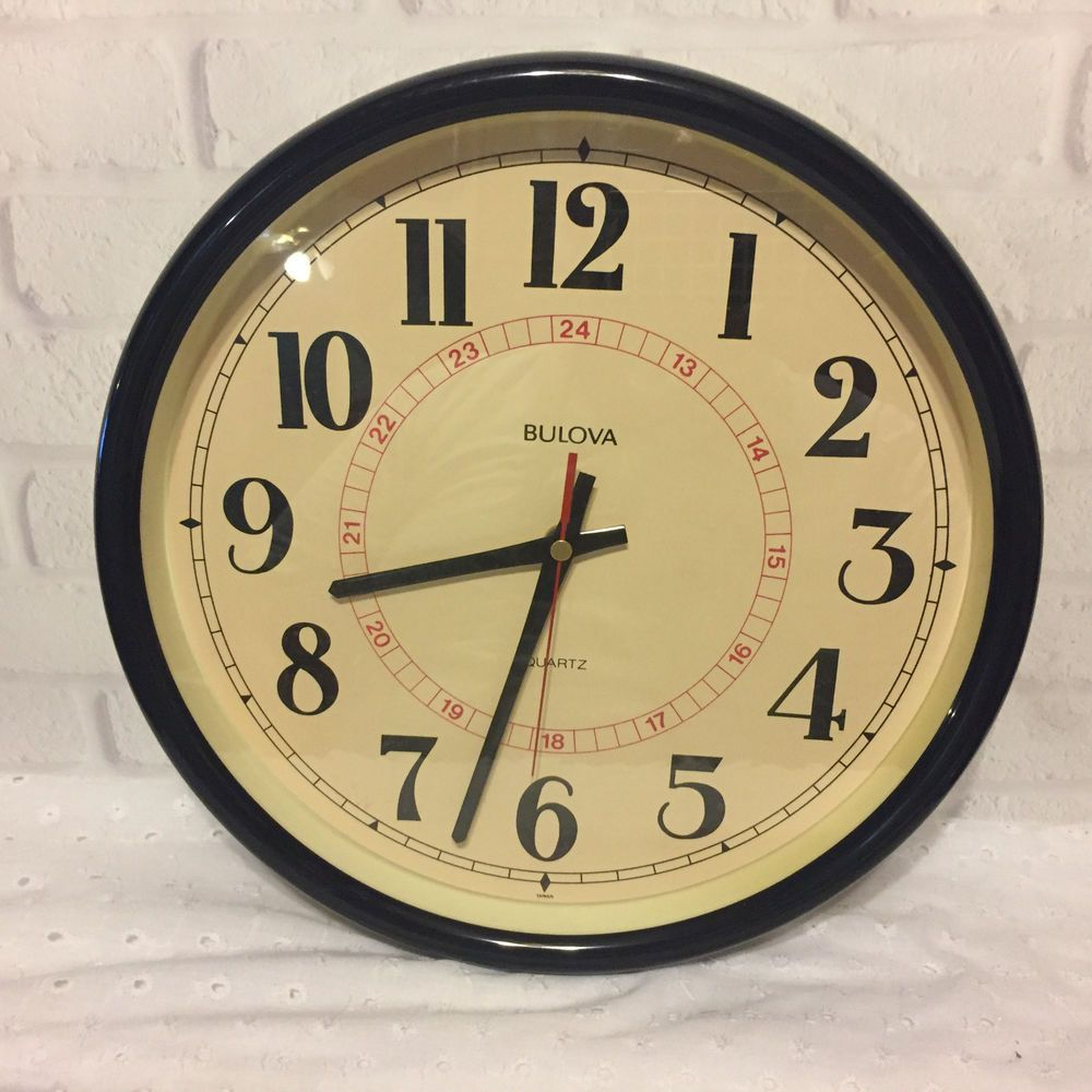 Bulova Quartz Wall Clock C4563 With Military Time Bulova Bulova Wall Clock Clock Wall Clock