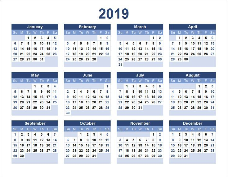 Kalender 2019 druckbare Vorlage Kalender Pinterest Calendar