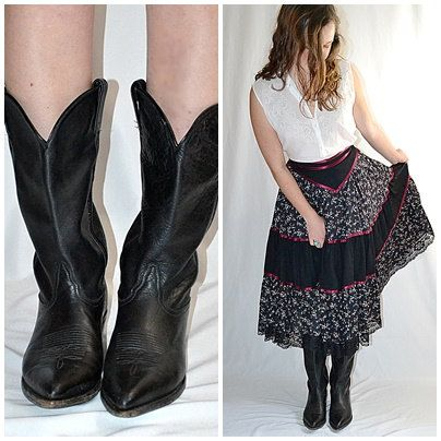 Vintage Womens Black Leather Western Cowgirl Boots TONY LAMA Sz 9 1/2 M by ChrisMartinDesigns on Etsy