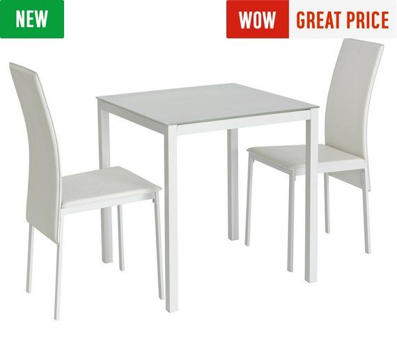 Buy Hygena Lido Glass Dining Table  2 Chairs - White at Argosuk
