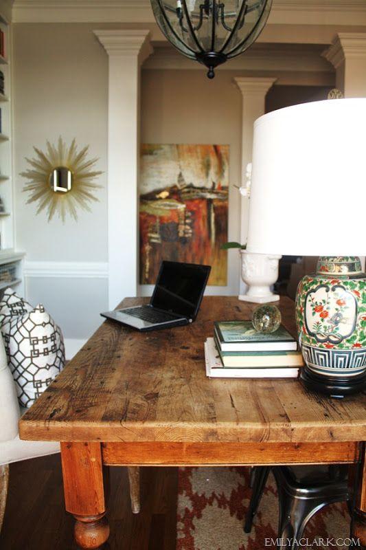 home office farmhouse table | moulding DIY | Pinterest ...