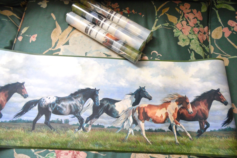 Wild Horses York Wallpaper Border Rolls Lot Of 4 Etsy Horse Wallpaper Border York Wallpaper Wallpaper Border