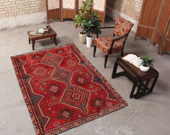 Antique Living Room Decor Vintage Red Kitchen Decor 1960 Rug Red Cotton Home Decor Geometric Hand Persian Area Rugs Handmade Oriental Rugs Distressed Rugs