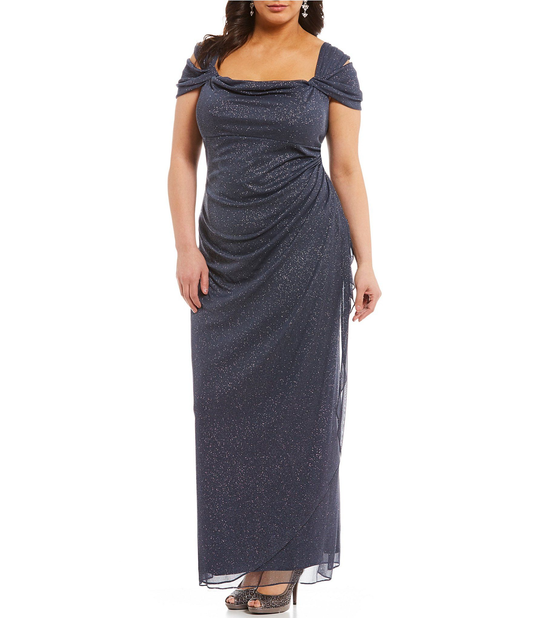 Plus size wedding guest dresses with sleeves  Alex Evenings Plus Cold Shoulder Glitter Mesh Gown  Winter