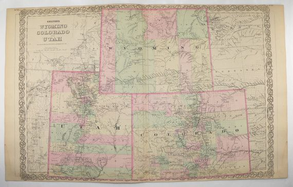 1881 Colton Colorado Map, Wyoming Utah Map, Western us ...