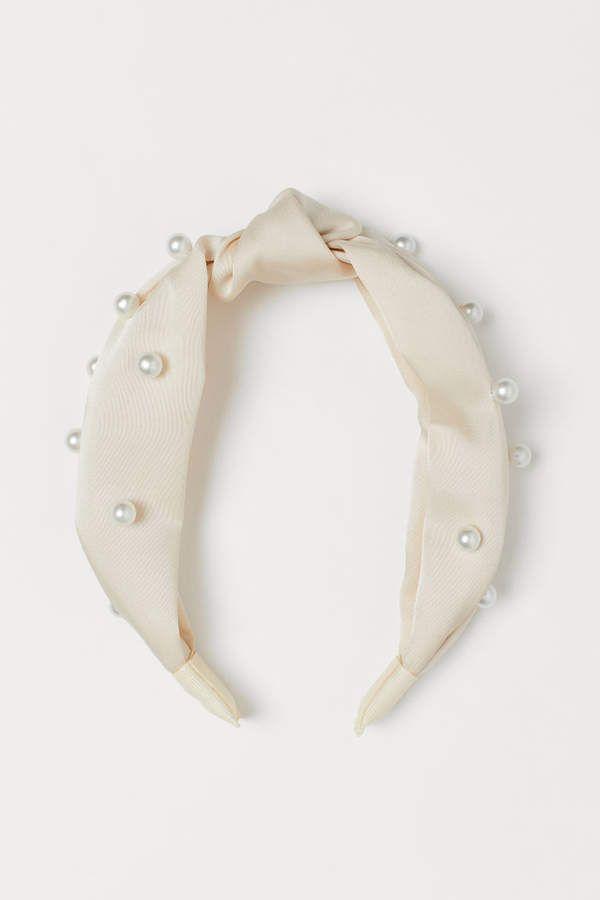 Serre-tête perlé – Crème / perles – Femme   H&M US
