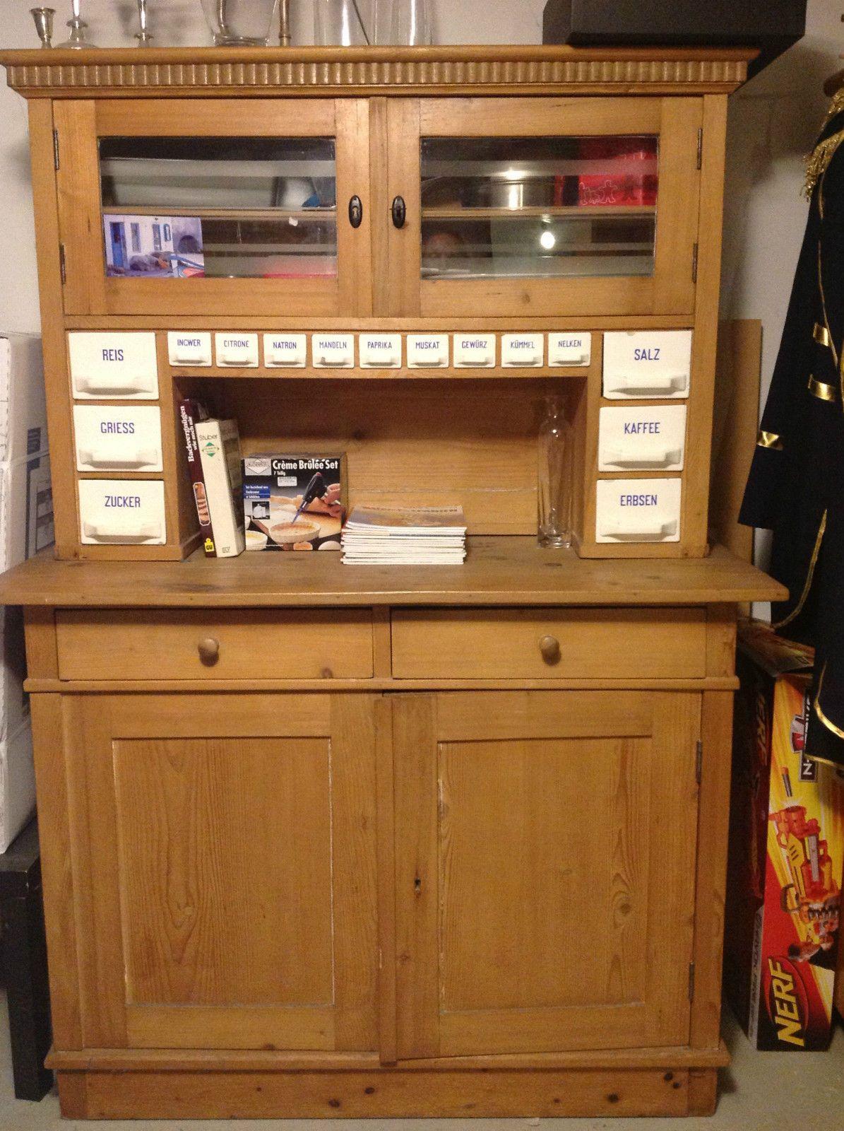 original antiker küchenschrank vitrine mit porzellan email ... - Küchenschrank Mit Schubladen