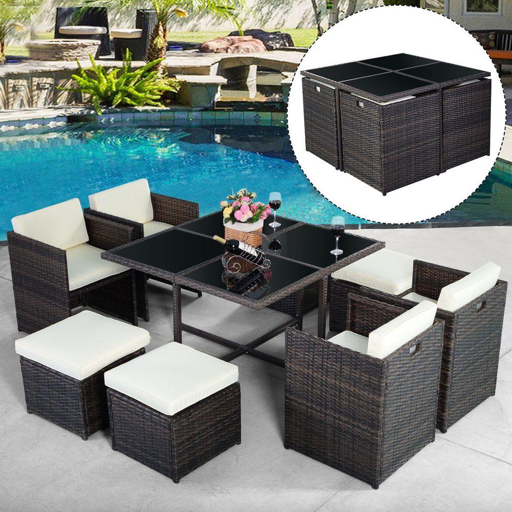 9 Pcs Outdoor Patio Garden Rattan Wicker Sofa Set Furniture