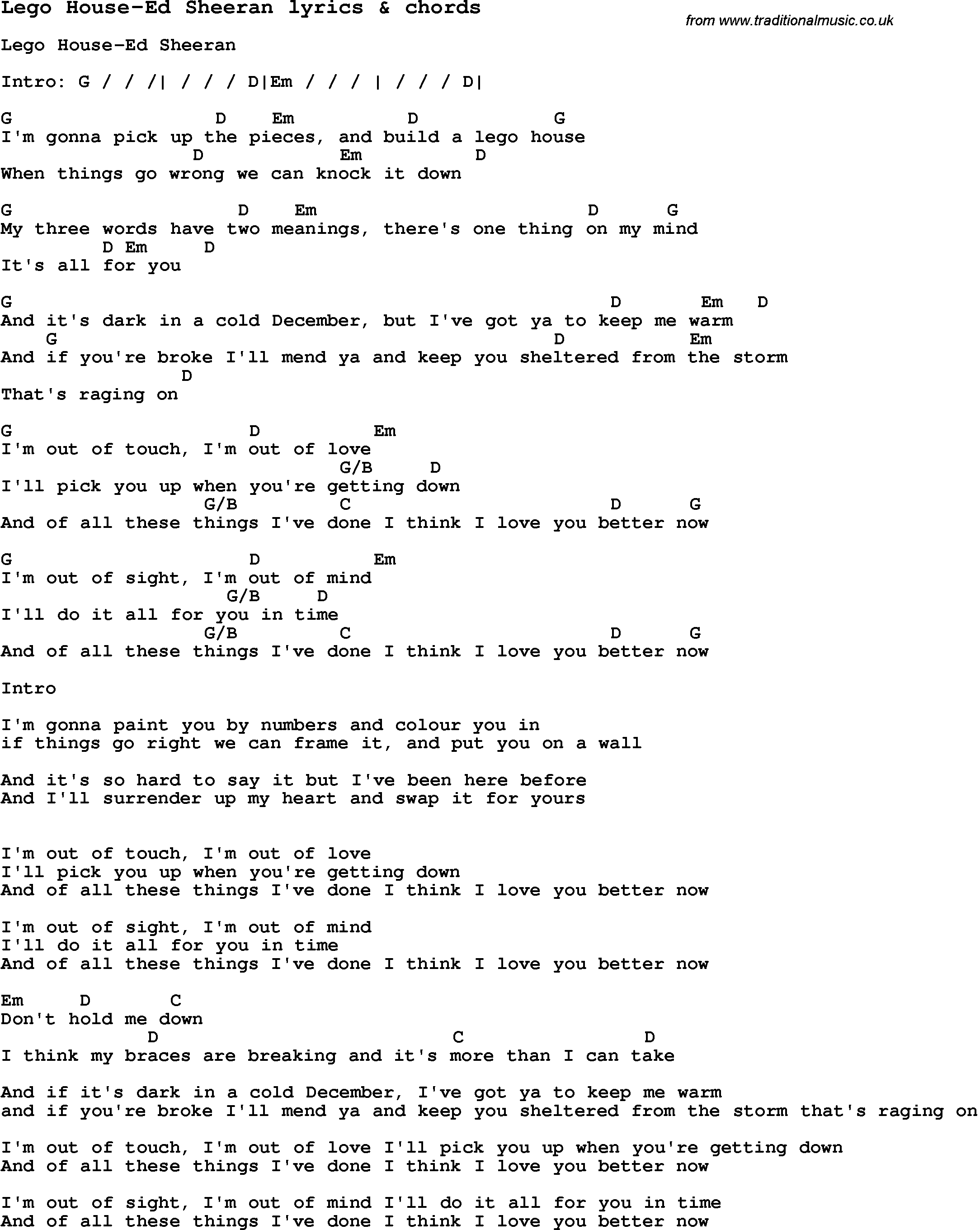 Love Song Lyrics for Lego House Ed Sheeran with chords for Ukulele Guitar