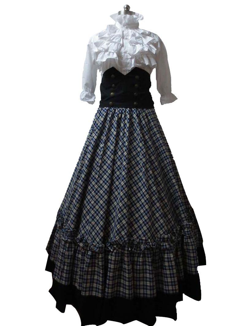 Victorian Gothic Ball Gown Reenactment Stage Punk Blue Tartan Lolita ...